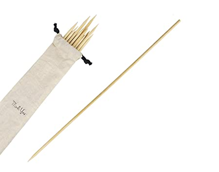 Somani 16 inches 5 mm Heavy Duty Bamboo Skewer   BBQ Skewer   Potato Twister Stick   Long Wooden Skewer (Pack of 25)