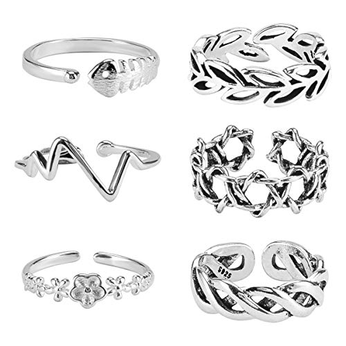 - Apipi 6 Pcs Adjustable Knuckle Toe Rings- Various Types Antique Silver Open Band Tail Toe Ring Set for Women Girls Gift Foot Jewelry