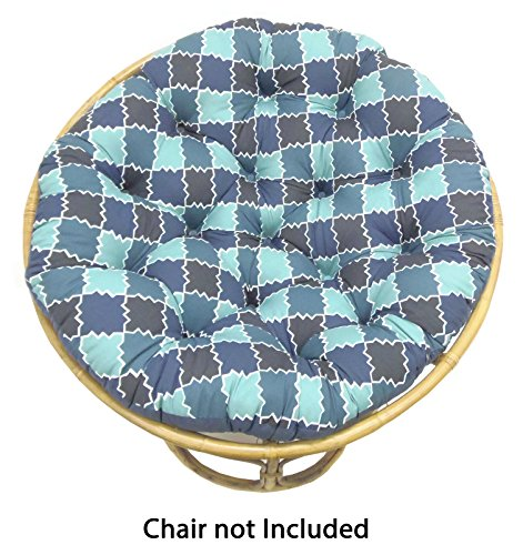 Cotton Craft Papasan Moroccan Mosaic Tile Shades of Blue Overstuffed Chair Cushion, Sink into our Comfortable and Oversized Papasan, Pure 100% Cotton duck fabric, Fits Standard 45 inch round Chair (Pier Patio Furniture 1 Cushions)