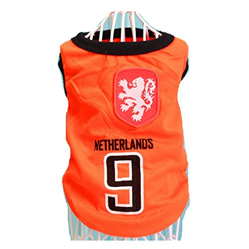 happinesssale Pet Costume for Dogs Netherlands Team and Italy Team Vest Basketball Clothes (4XL, Orange)