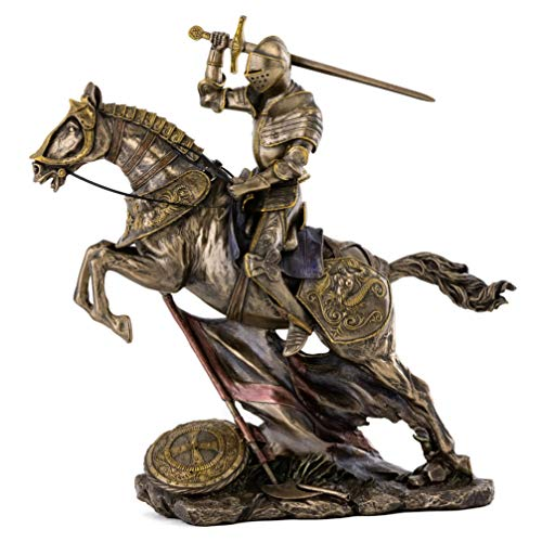 Top Collection Medieval Knight Statue in Armor - Battle Warrior Sculpture on Horse in Premium Cold Cast Bronze - 10.25-Inch Collectible Renaissance Decor Figurine ()