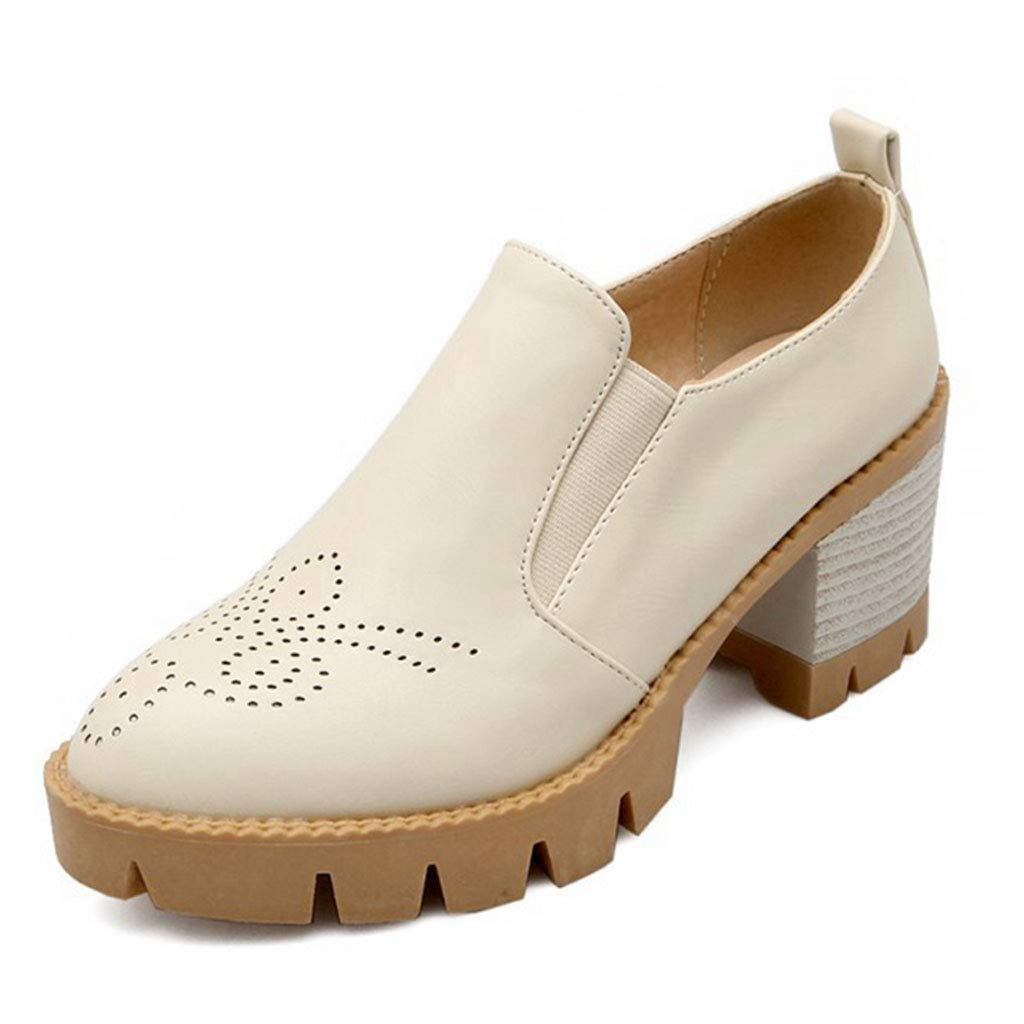Women's Classic Chunky Heel Ankle Booties Round Toe Slip-On Handmade Wingtip Platform Oxford Shoes