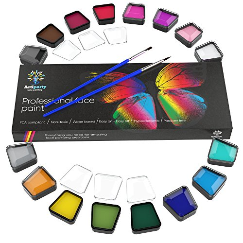 Kit Make Up (Face & Body Paint Kit Professional Palette by Artiparty - Non-Toxic & Hypoallergenic - Easy to Apply & Remove - Plastic Box for Ease of Storage&Carrying - Ideal as Adults & Kids Face Painting Set)