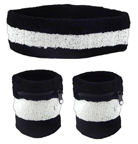Funny Guy Mugs Unisex Sweatband Set (3-Pack: 2 Wristbands with Zipper/Wrist Wallet & 1 Headband) (Band Zipper)