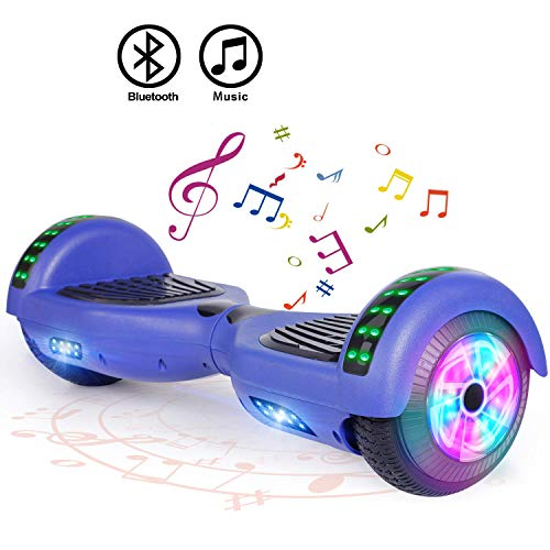 FLYING-ANT Hoverboard UL 2272 Certified 6.5' Two-Wheel Bluetooth Self Balancing Electric Scooter with LED Light Flash Lights Wheels Blue (Free Carry Bag)