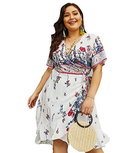 Empire Waist Wrap Dress - Holagift Women's Plus Size Dress Boho Floral Print Belt Tie Wrap Casual Summer Beach Dress (White, 14W)