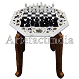Artefactindia Beautiful and Decorative 13'' x 13'' White Marble Chess Set Inlaid with Semi Precious Stones for Adults 13'' X 13'' White