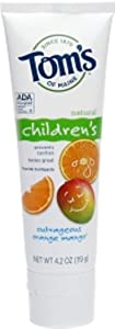 Tom's of Maine Children's Natural Fluoride Toothpaste, Outrageous Orange Mango 4.2 oz (Pack of 4)