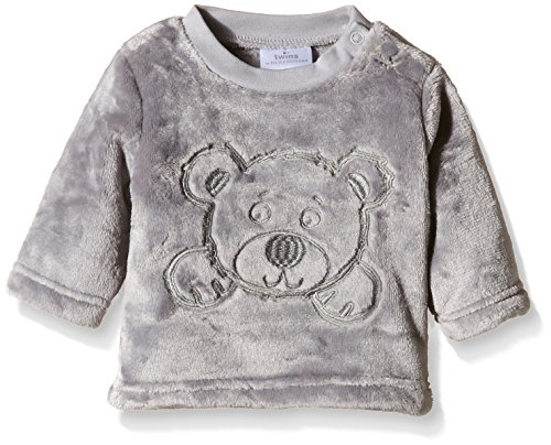 Twins Unisex Baby Fleecepullover mit Bärchen-Stickerei, Gr. 62, Grau (Sleet 163916)
