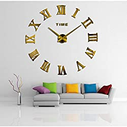 BWGHBH DIY 3D Acrylic Big Watch Frameless Mirror Wall Clock Wall Stickers Home Decor Living Room Bedroom Decoration (Golden)