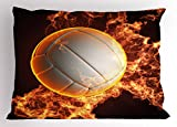 Lunarable Volleyball Pillow Sham, White Ball on Fire Competitive Sports Excitement Passion Fun Games, Decorative Standard Size Printed Pillowcase, 26 X 20 inches, Orange Redwood White