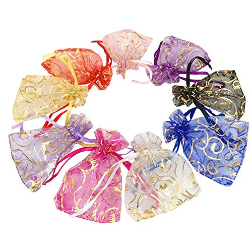 Wuligirl 100 PCS 2.75 by 3.54 inches Mixed Color Eyelash Organza Small Sheer Mesh Gift Bags with Drawstring edding Party Bags Candy Bags Jewelry Bags (100 pcs Mix Eyelash, - Drawstring Mesh Pouch
