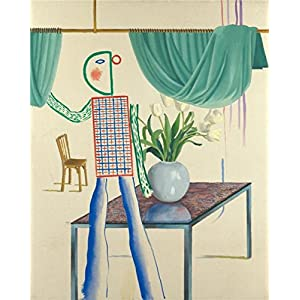 Oil Painting 'David Hockney,Invented Man Revealing Still Life,1975' Printing On High Quality Polyster Canvas , 30x38 Inch / 76x96 Cm ,the Best Dining Room Decoration And Home Artwork And Gifts Is This Cheap But High Quality Art Decorative Art Decorative
