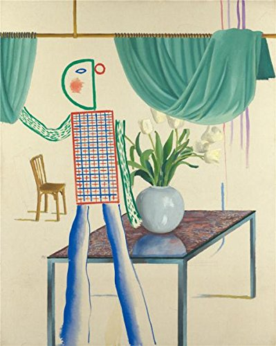 Perfect Effect Canvas ,the Imitations Art DecorativePrints On Canvas Of Oil Painting 'David Hockney,Invented Man Revealing Still Life,1975', 16x20 Inch / 41x51 Cm Is Best For Gym Gallery Art And Home Decoration And
