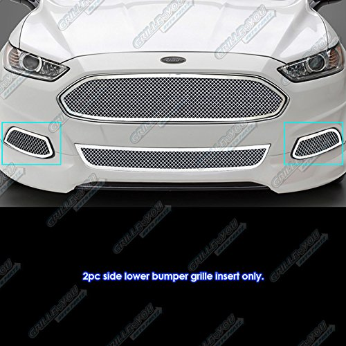 APS Fits 2013-2016 Ford Fusion Stainless Fog Light Cover Mesh Grille Insert #F75942T