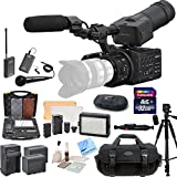 Sony NEX-FS100UK Super 35 Camcorder (Body) & CS Interview/Documentary Kit: Includes Wireless Lapel & Handheld Microphone Kit, Professional Aluminum Tripod, Weather Proof Case, Transcend 32GB SDHC Memory Card, SD Card Reader, Memory Card Wallet, 162 LED Vi