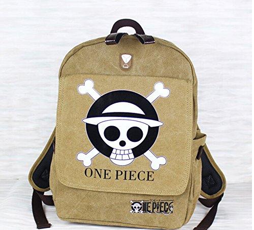 Vogue World Anime One Piece Canvas Backpack Schoolbag ,Khaki
