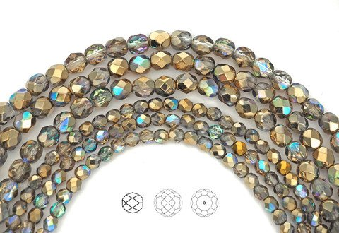 (4mm (102pcs) Crystal Golden Rainbow coated, Czech Fire Polished Round Faceted Glass Beads, 16 inch strand)