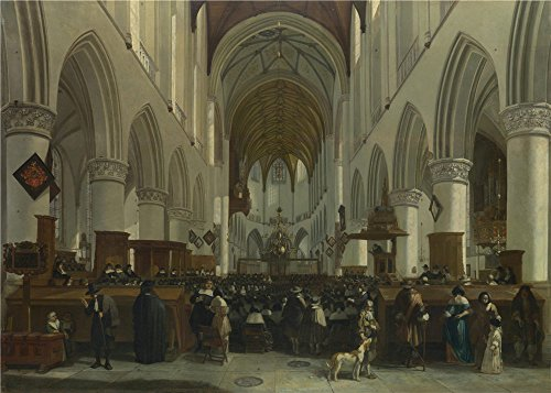 Oil Painting 'Gerrit Berckheyde - The Interior Of The Grote Kerk, Haarlem,1673' 10 x 14 inch / 25 x 36 cm , on High Definition HD canvas prints is for Gifts And Foyer, Laundry Room And Nursery decor]()