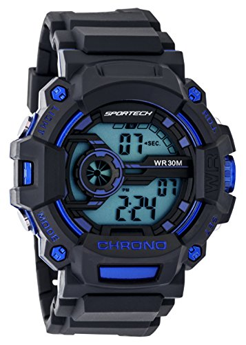 Children's Watches by Sportech - Black and Blue Digital Water Resistant Sport Watch - Make Every Second Count - SP12201