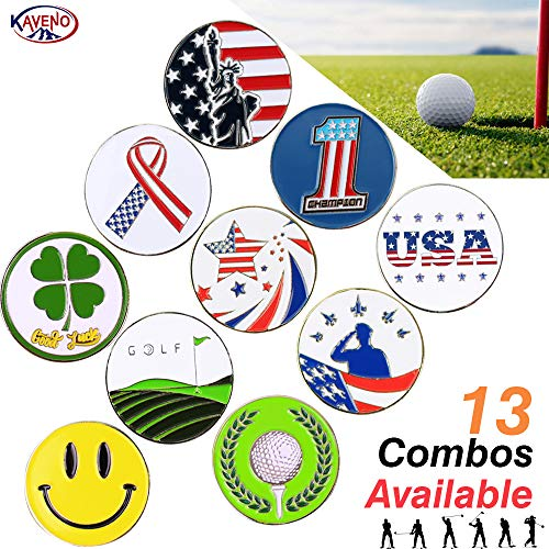 kaveno Golf Ball Marker Series, Assorted Design, Pack of 5/10/20 (USA - Magnetic Ball Marker