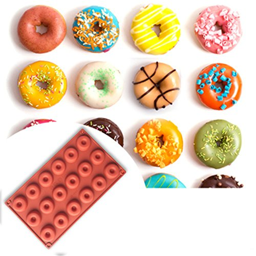 FantasyDay Premium 18-Cavity Donut Mold Silicone Baking Mold for Your Chocolate Desserts, Ice Cream Bombes, Mini Teacake, Fondant, Candy, Icing, Tray, Candy, Cookie, Gummy, Jello Shot and More #3 -