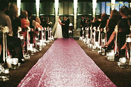ShinyBeauty Sequin Aisle Runners 2Ft x 15Ft Pink Gold Carpet Runner for Party Glitter Runner for Wedding ~N1.16 ()