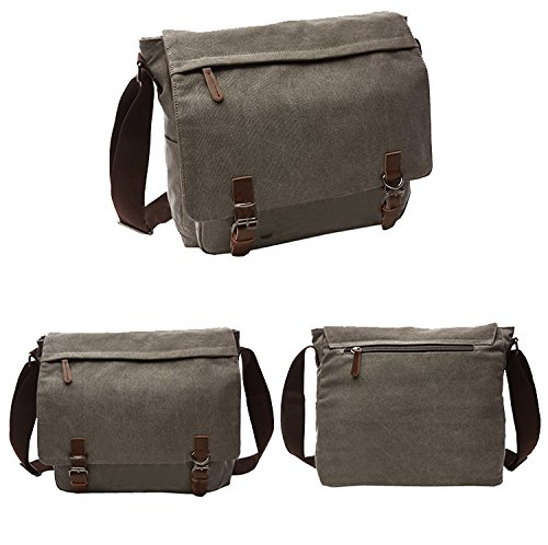 5 ALL Herren Umhängetasche Vintage Rucksack Freizeit Kuriertasche Bag Tragbar Laptop Tasche Einfarbig Canvas Tasche Outdoor Grau (Medium) fd0xJ