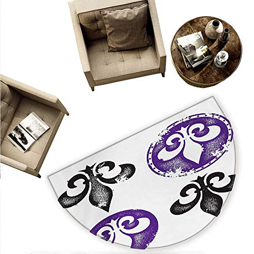 (Fleur De Lis Semicircle Doormat Collection of Fleur De Lis Designs Silhouettes Vintage Artistic Spiral Art Halfmoon doormats H 63