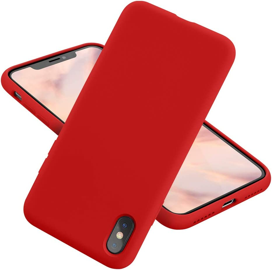 MCUCA iPhone X Case/iPhone Xs case Liquid Silicone Gel Rubber Bumper Case,Ultra-Thin Soft Microfiber Lined Full Body Protective Case Cover for Apple iPhone X/iPhone Xs (Red)
