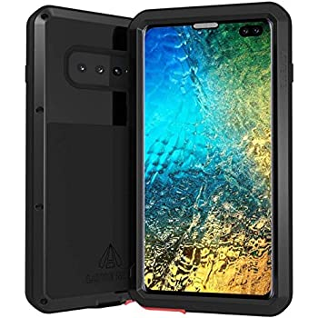 LOVE MEI Case for Samsung Galaxy S10+, Heavy Scratch Proof Military Shockproof Metal Cover Full Body Protective Wireless Charge Silica Bumper Samsung S10 Plus Case with Screen Protector (S10+ Black)