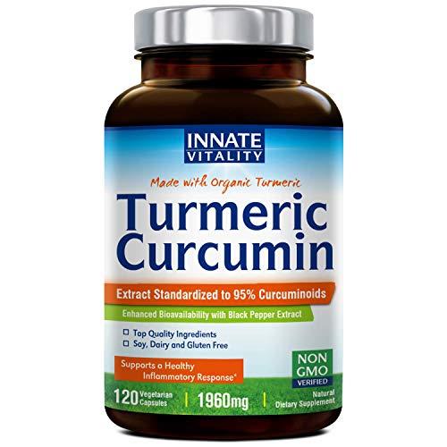 Organic Tumeric Curcumin with BioPerine, 95% Standardized Curcuminoids, 1960mg per Serving, 120 Veggie Caps, Non-GMO,Gluten Dairy & Soy Free, Anti-Inflammatory,Pain Relief & Joint - 60 Caps Veggie Standardized