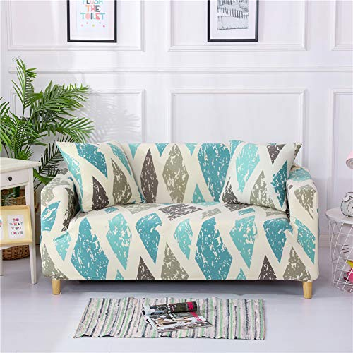 Stretch Slipcover Fitted Furniture Protector Print Sofa Cover Stylish Couch Cover with 2 Pillow Cases for Loveseats/Sofas/Sectional Couches,3 Seater-Colorful Diamond
