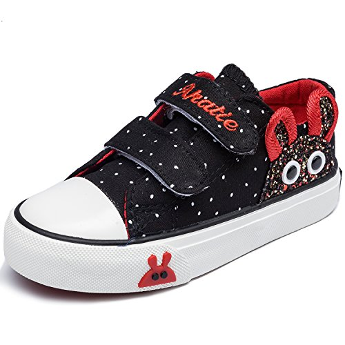 Price comparison product image Alexis Leroy Kid's Velcro Cute Print Low- Top Canvas Shoes Black 26 M EU / 9.5 M US Toddler