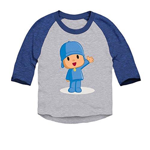 Trunk Candy Pocoyo - Pocoyo Waving Toddler 3/4 Sleeve Baseball Raglan T-Shirt (Heather/Royal, 2T)
