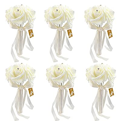Bridal Wedding Bouquet - OurWarm Crystal Roses Pearl Bridesmaid Bouquets Artificial Silk Flowers - 6 Pack
