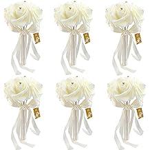 6 Bunch of Bouquet, AerWo Yellow Foam Roses Silk Ribbon Bouquet Handmade Rhinestone Diamante Artificial Flower Bridal Bridesmaid Brooch Wedding Bouquet Decoration