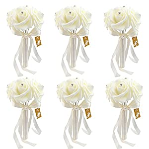 OurWarm Bridal Wedding Bouquet Crystal Roses Pearl Bridesmaid Bouquets Artificial Silk Flowers - 6 Pack 72