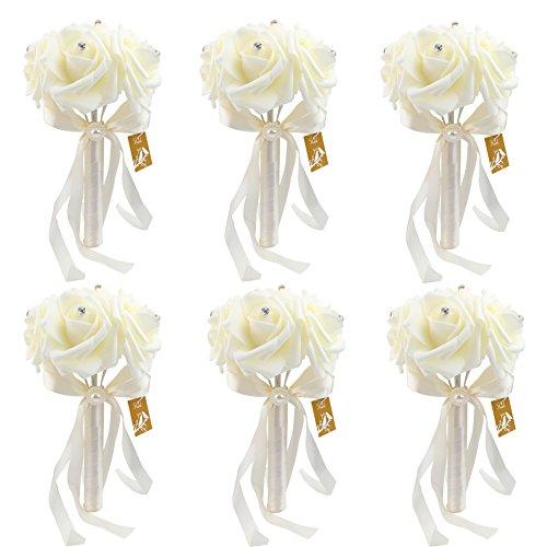 6 Bunch of Bouquet, AerWo Ivory/Beige Foam Roses Silk Ribbon Bouquet Handmade Rhinestone Diamante Artificial Flower Bridal Bridesmaid Brooch Wedding Bouquet (Rose Silk Ribbon)