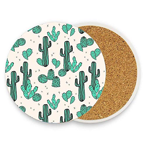 Cactus By Andrea Lauren Coaster Absorbent Coaster with Cork Base Pack Of 1,Coaster for Drinks Coffee Mug Glass Cup Place ()