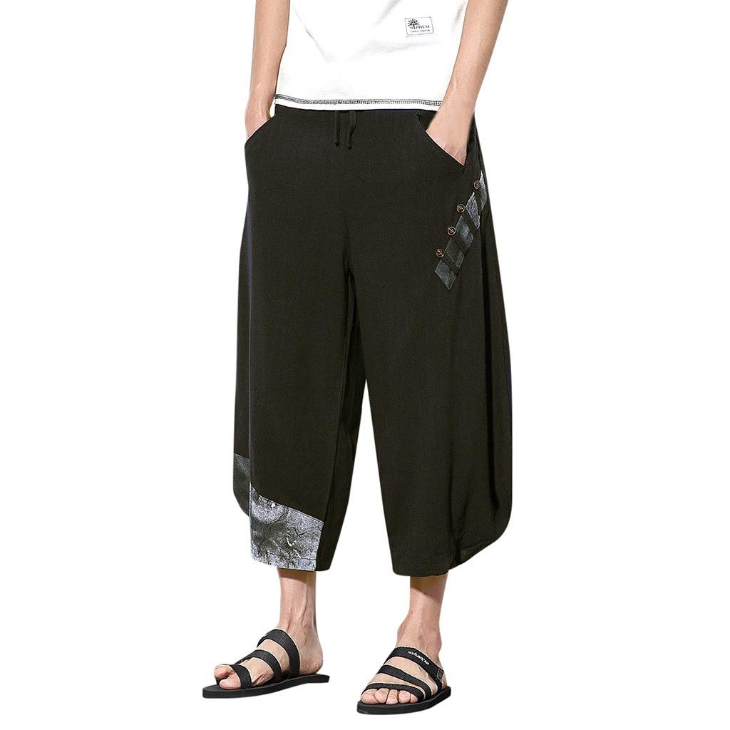 Alalaso Harem Pants for Men Cotton Linen Harem Yoga Baggy Boho Pants Lounge Pants Black