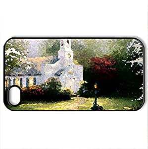 White Chapel - Case Cover for iPhone 4 and 4s (Watercolor style, Black)