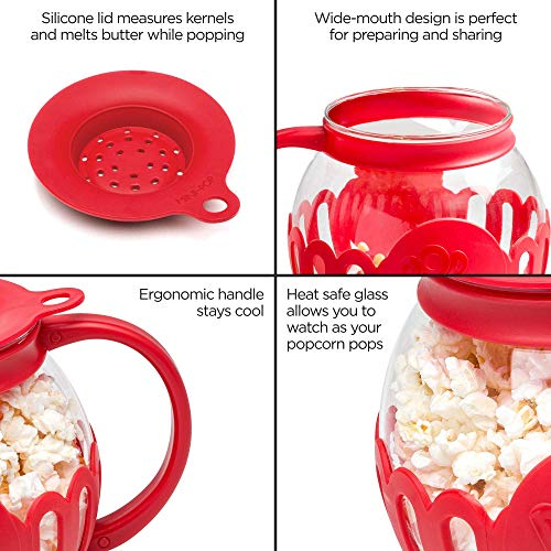 Ecolution Original Microwave Micro-Pop Popcorn Popper, Borosilicate Glass, 3-in-1 Silicone Lid, Dishwasher Safe, BPA…