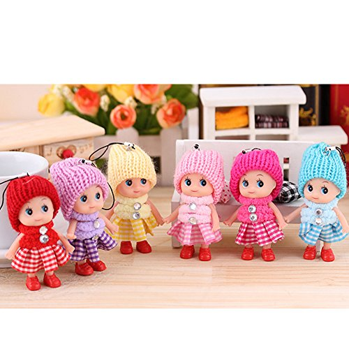 - 6 PCS Tiny Dolls, Silicone Princess Mini Doll for Girls, DIY Miniature Dollhouse Kit with Miniature Clothes, Decoration Little Dolls Christmas Festival Reborn Baby Stuff Gift & Bag Accessories 8cm
