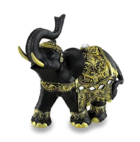 Exotic Black and Gold Finish Trunk Up Thai Elephant Statue