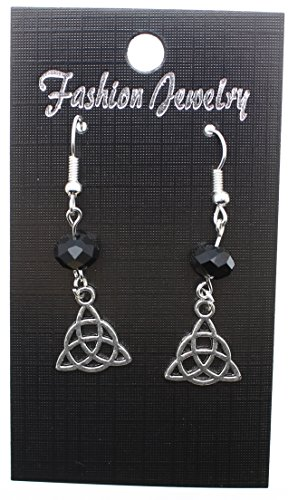 AVBeads Pagan Wicca Earrings Dangle Beaded Hook Black Silver Metal Charms Triquetra Earrings Celtic Knot Earrings