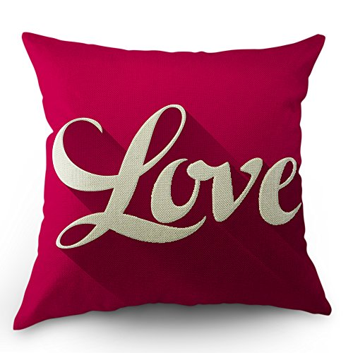 Moslion Love Pillows Quote Throw Pillow Cover Valentine's Day Pillow Case 18 x 18 inch Cotton Linen Square Cushion Home Decorative Cover Sofa Bed Red Pink