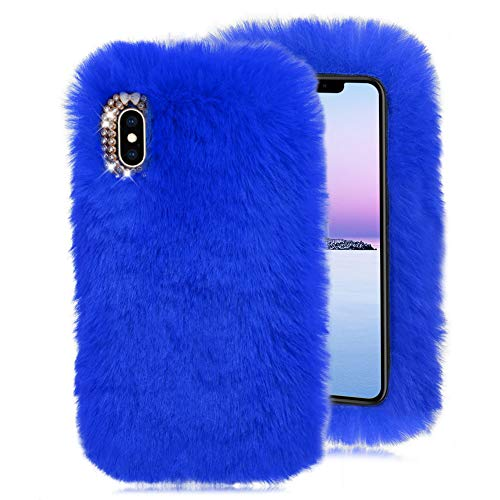 Rabbit Bowknot (Blue Furry Case for Galaxy S9 Plus,Soft Case for Galaxy S9 Plus,Herzzer Stylish Fashionable Winter Warmed Faux Rabbit Fur Bunny Plush Flexible Cover with Chic Crystal 3D Bowknot)