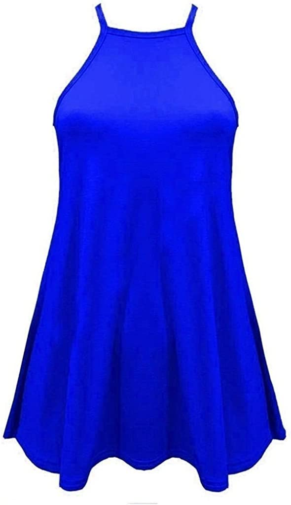 Women High Neck Cami Sleeveless Swing Vest Ladies Skater Top Plus Size