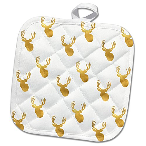 3dRose PS Animals - Image of Gold Glitz Deer - 8x8 Potholder (phl_274218_1)